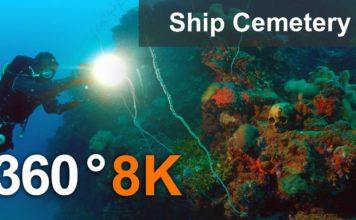 Ship Cemetery in Truk Lagoon in 360 format, Micronesia.