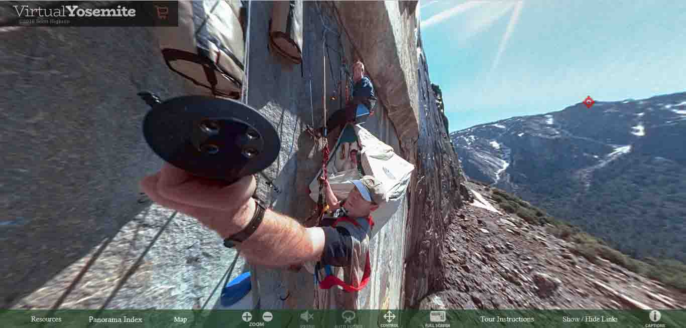 Climbers pitch their bivouacs on the side of El Capitan.